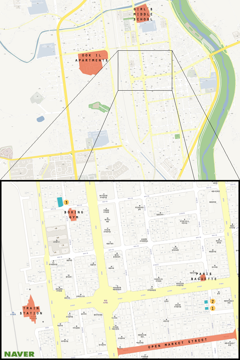 Map of the secondhand stores in Jochiwon. 1. 동대문 2. 원홍상회 3. 행복한나눔  (Michael Thayer/ The Sejong Dish)