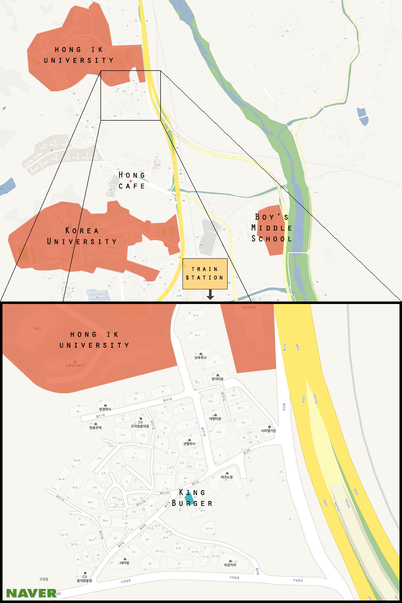 Here is a map of Jochiwon with The King highlighted. (Michael Thayer/ The Sejong Dish)