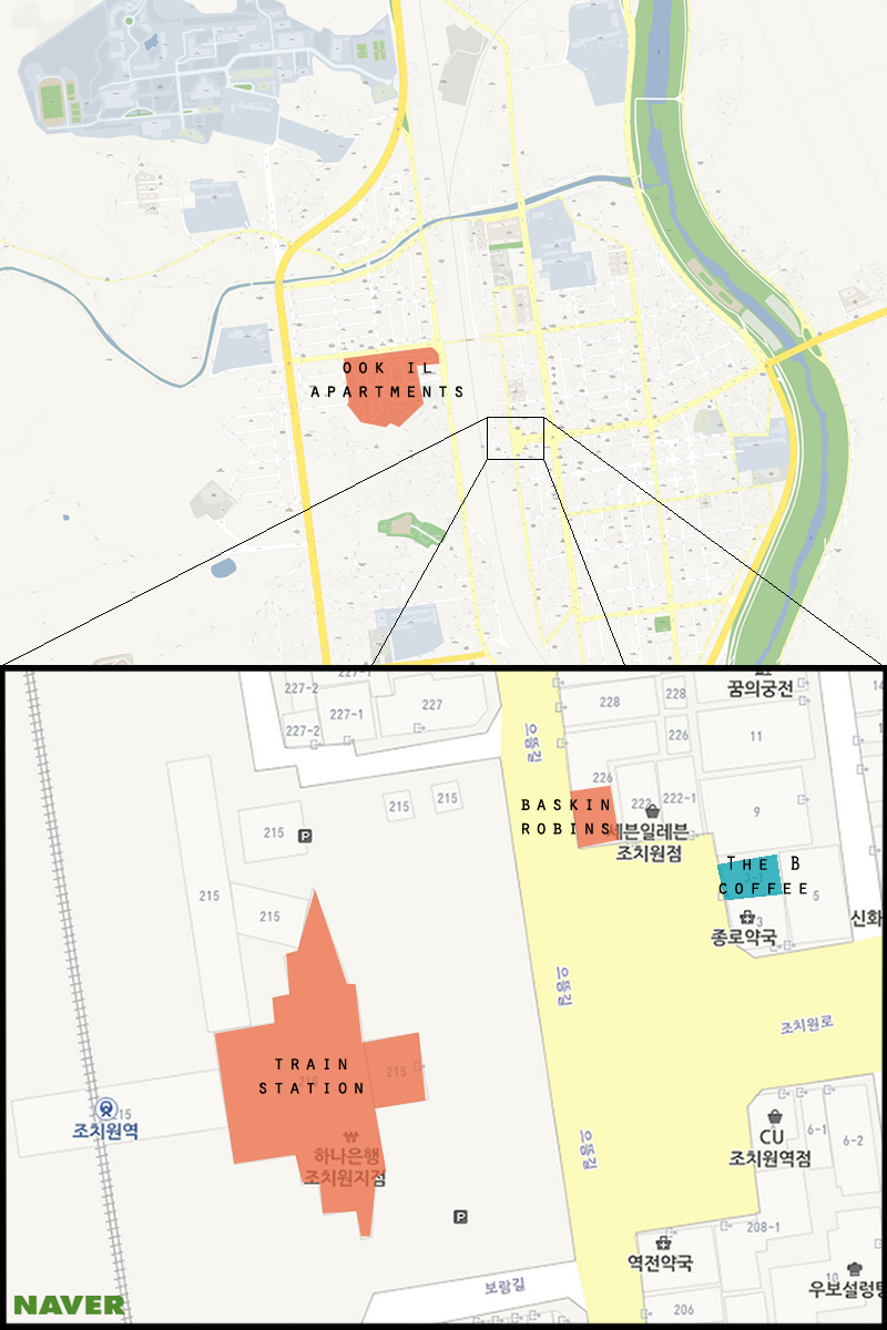 Map of Jochiwon with The B highlighted. (Michael Thayer/ The Sejong Dish)