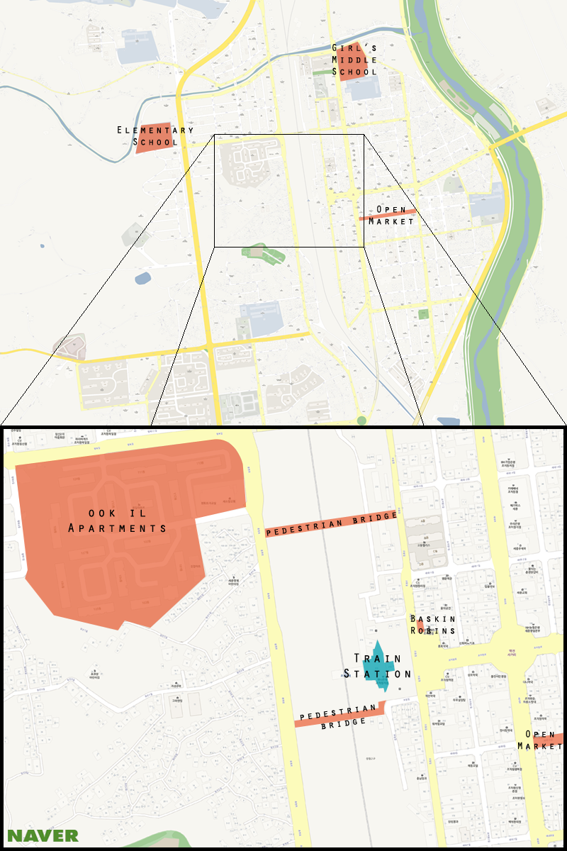 Here is a map of Jochiwon with it's train station highlighted. (Michael Thayer/ The Sejong Dish)