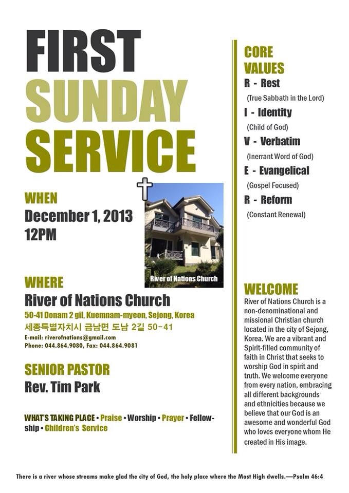 This is a flyer from the River of Nations Church. The River of Nations Church has service every Sunday at 12 p.m.