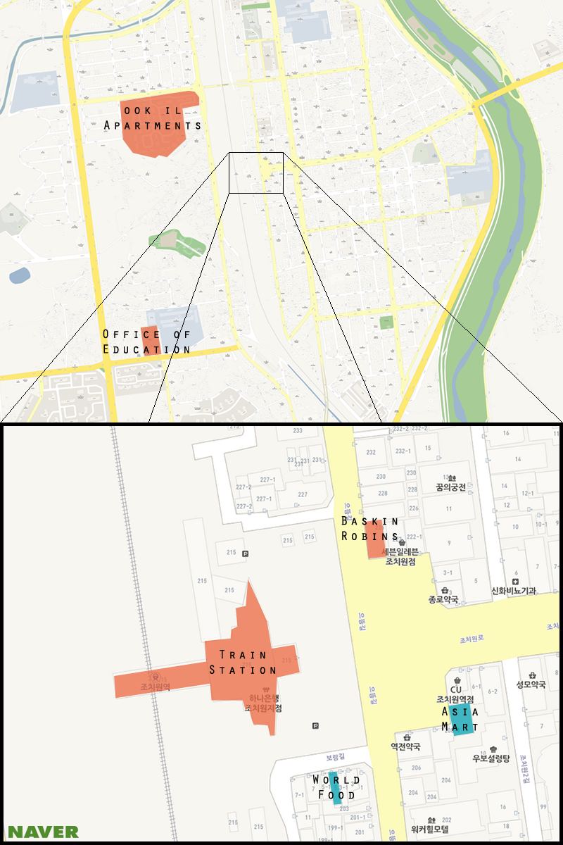 Here is a map of Jochiwon with Asia Mart and World Food highlighted. (Michael Thayer/ The Sejong Dish)