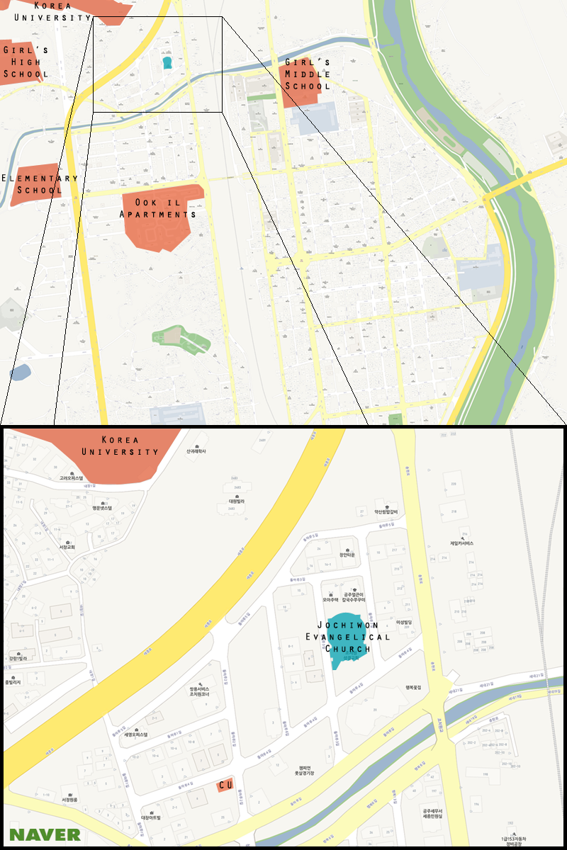 This is a map of Jochiwon with the Jochiwon Evangelical Church highlighted. (Michael Thayer/ The Sejong Dish)