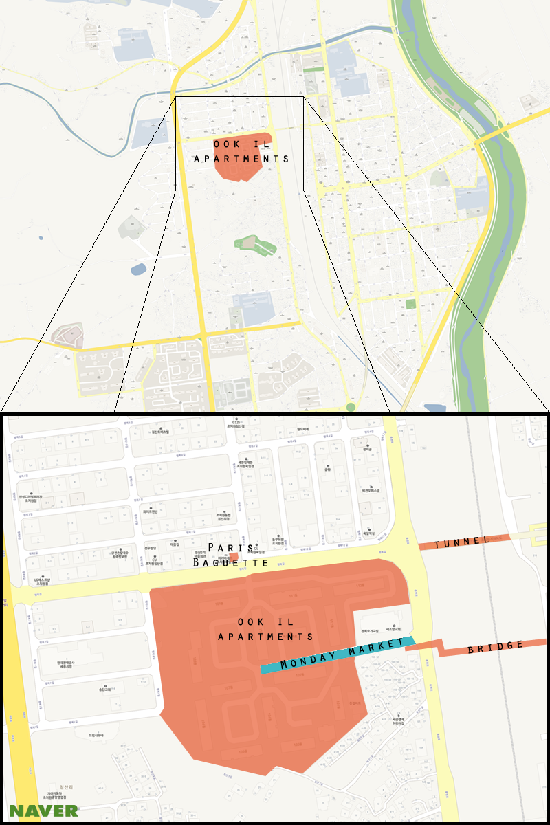 Here is a map of Jochiwon with the Monday Market highlighted.  (Michael Thayer/ The Sejong Dish)