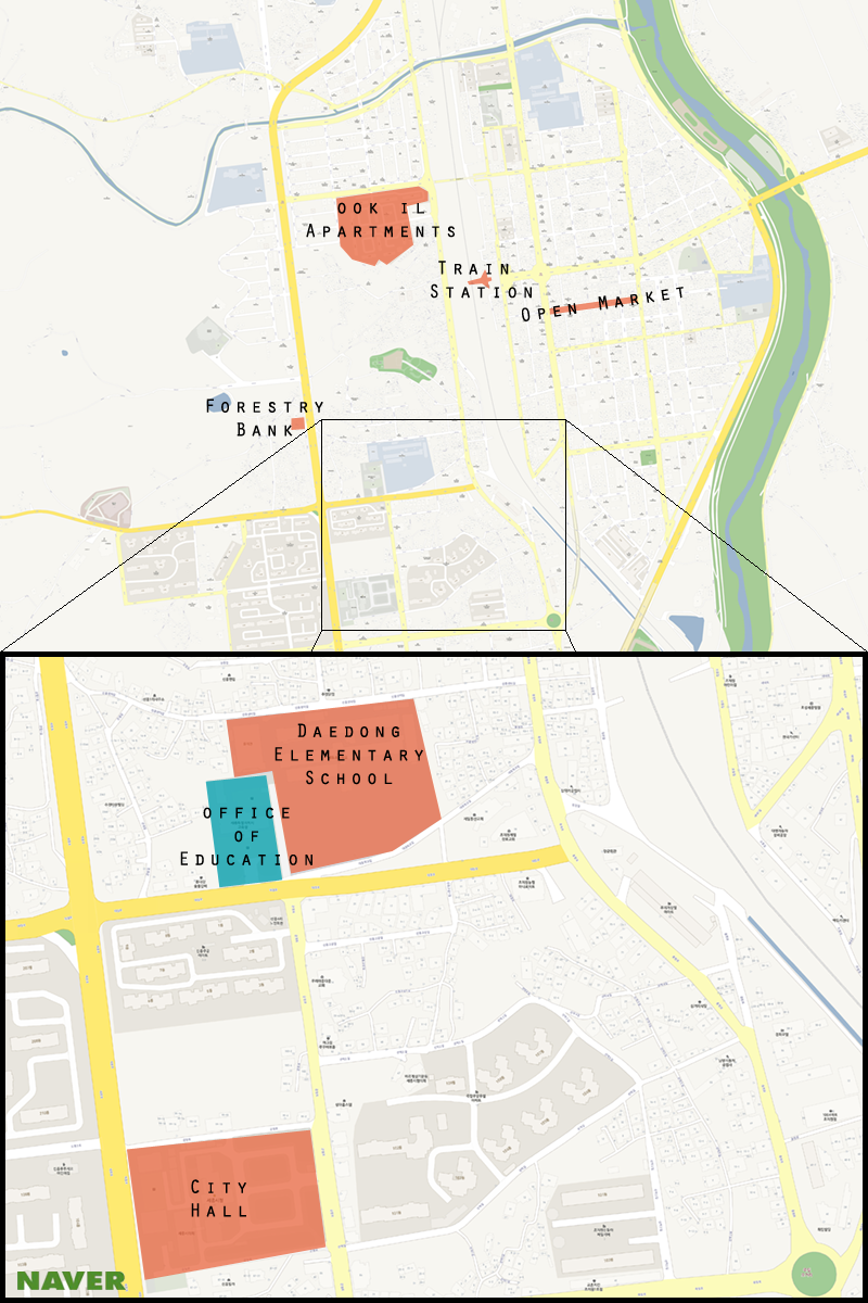 This is a map of  Jochiwon with the Sejong Office of Education highlighted. (Michael Thayer/ The Sejong Dish)