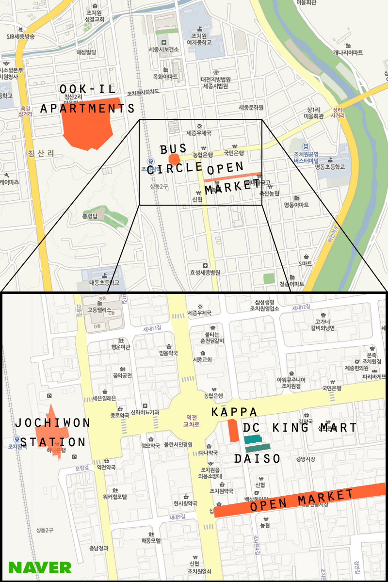 This is a map of Jochiwon with Daiso and DC King Mart highlighted. (Matt Lemanski/ The Sejong Dish)
