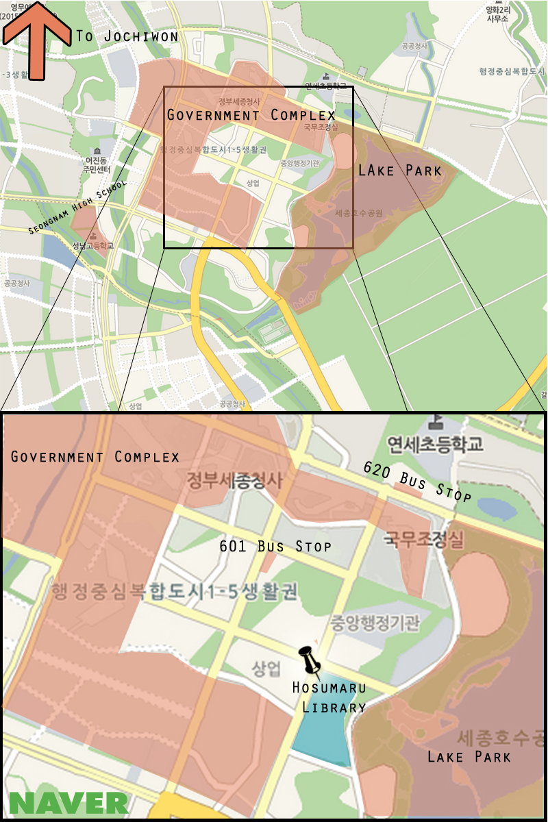 This is a map of Sejong with Hosu Maru at the Sejong Library highlighted. (Adam Ellerson/ The Sejong Dish)