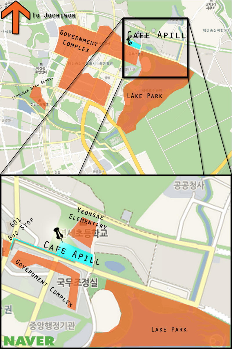 This is a map of Sejong with Cafe Apil highlighted. (Adam Ellerson/ The Sejong Dish)