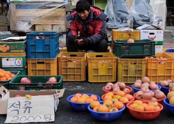 A vendor sells fresh fruit at Sejong City Traditional Market in Jochiwon, South Korea, on Saturday December 14th. The Sejong City Traditional Market has special market days during the month on days ending in 4 or 9. (Salgu Wissmath/ The Sejong Dish)