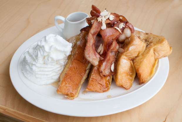 Cafe Apill offers a tasty assortment of french toast, pancakes, eggs benedict, omelets, and salads, as well as a full array of coffees, teas, and smoothies. Pictured is the bacon french toast. (Salgu Wissmath/ The Sejong Dish)